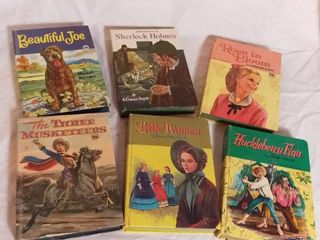 lot of 6 Vintage Fiction Story Books   Three Musketeers  Shelock Holmes  Huckleberry Finn