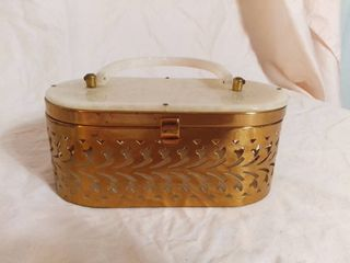 White Marble lucite and Gold Toned Vintage 1950s Handbag
