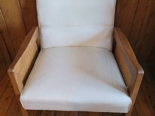 Mid Century Star line Cane Arm Chair   White leather