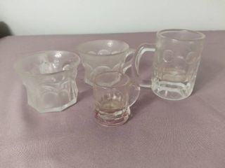 lot of 4 Miniature Glass Mugs with Handles