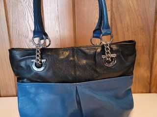 Gently Used leather Blue and Black Tignanello