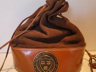 leather and Hide Harvard University leather Drawstring Bag