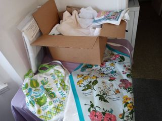 Small lot Of Assorted linens Towels Aprons Etc