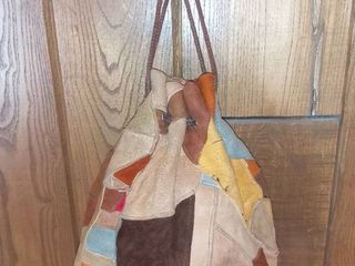 Patched leather Drawstring Bag