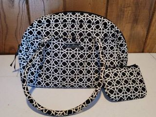 Black and White Geometric Design Purse and Matching Coin Purse Gently Used