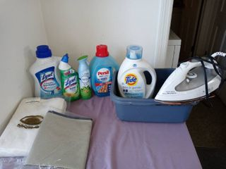 Small lot Of Housewares 2 Plastic Tubs Iron Tide Soap Etc