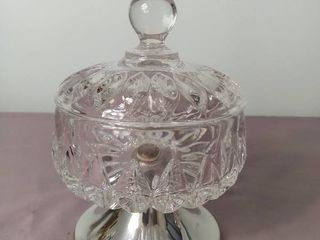 Kirk Stieff Pewter and Crystal Candy Dish with lid