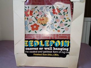 Vintage Needlepoint Canvas Or Wall Hanging Kit On Box
