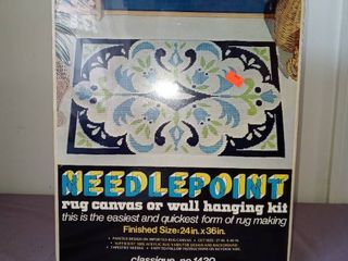 Vintage Needlepoint Rug Canvas Or Wall Hanging Kit In Box