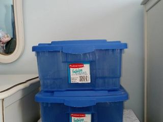 Pair Of Small Rubbermaid Fashion Clear Totes