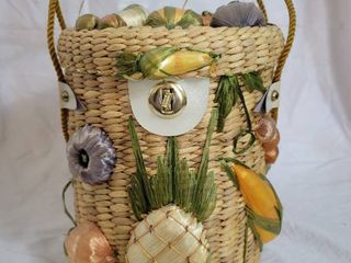 Vintage Straw Purse Flowers Basket Weave Embroidered Cylinder Shape   Made in Philippines