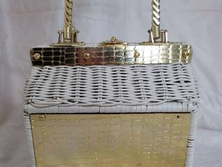White Wicker and Gilded Metal Decals Purse Made in Hong Kong