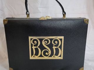 Black leather Womans Briefcase with initials BSB