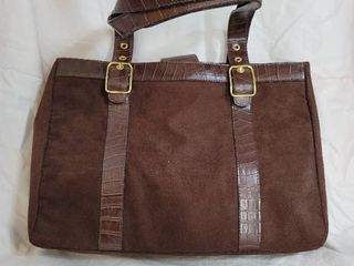 Joan Rivers Classics Brown Suede Briefcase