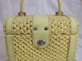 Pastel Yellow Wooven Hand Bag by Donna