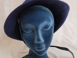 100  Navy Blue Wool Ritz Henry Pollack Vintage Hat with Chin Strap