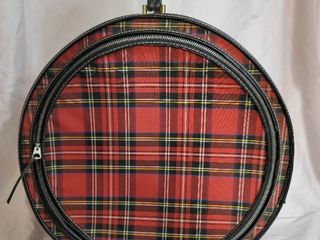 Red Plaid Circle Carry On