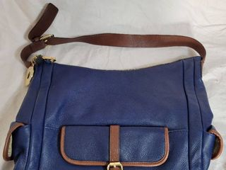 Issac Mizrah Genuine leather Navy Blue and Brown Tote Purse