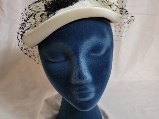 Vintage White Silk and Netted Womans Hat