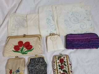 lot of Embroidered Handkerchief and Coins Purses