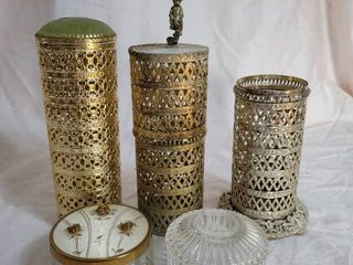 Hollywood Regency Hairspray Holders and Powdwr Dishes