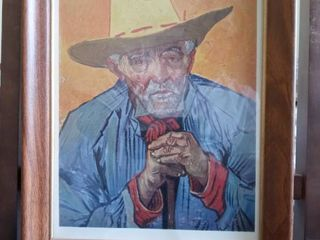 Cool Framed Artwork Of Man In Yellow Hat