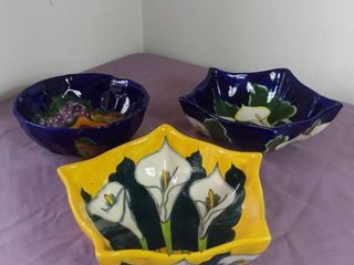 lot Of 3 Hand Painted Ceramic Fruit Bowls Made In Mexico   1 Yellow Bowl W  Painted Flowers  5 Sided    1 Blue Bowl W  Painted Flowers  5 Sided    1 Blue Bowl W  Painted Fruit