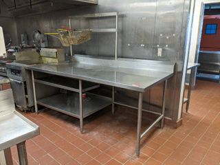 Stainless Steel Prep Table With Hanging Rack