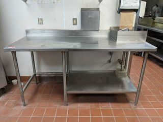 Stainless Steel Prep Table With Sink  Wall Shelving And Edlund Knife Holder