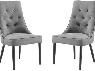Classic 2 Piece Tufted Button Brush Microfiber Dining Chair  Grey