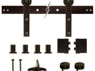Everbilt 72 in  Dark Oil Rubbed Bronze Strap Sliding Barn Door Track and Hardware Kit