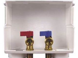 Water Tite Du All Dual Drain Washing Machine Outlet Box with Brass Qtr turn Valves  Installed  1 2  PEX Conx