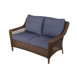 Hampton Bay Chairs Spring Haven Brown All Weather Wicker Patio loveseat with Sky Cushions 66 20303
