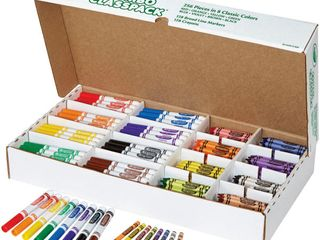 Crayola Crayons And Markers Combo Classpack  256 Pieces In 8 Classic Colors