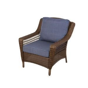 Patio lounge Chair Sky Blue Cushions Spring Haven Brown All weather Wicker