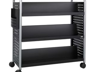 Safco  Scoot Double Sided Book Cart  Black Silver