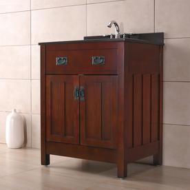 Ove Decors Dark Walnut Undermount Single Sink Bathroom Vanity with Granite Top  Common  28 in x 22 in  Actual  28 in x 21 in