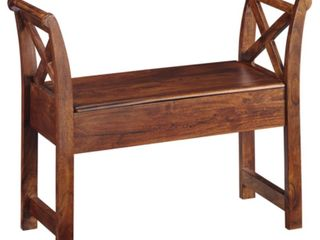 Signature Design by Ashley Abbonto Vintage Casual Brown Storage Accent Bench   Retail  156 99
