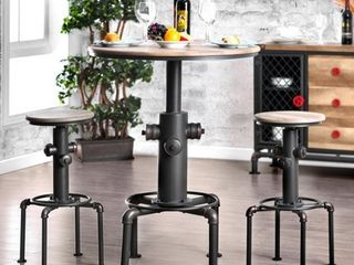 Furniture of America Industrial Black Metal Bar Height Round Fire Hydrant Table Retail 284 49