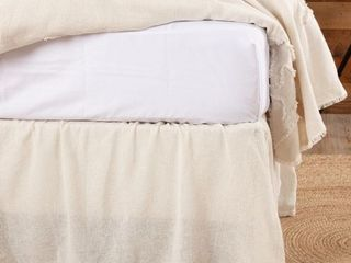 Farmhouse Bedding VHC Cotton Burlap Bed Skirt Solid Color Gathered Retail  43 19
