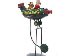 Kurt Adler 12 Inch Santa in Plane Pendulum Table Piece   Retail  69 99