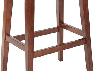 Metro 29 in  Saddle Stool with Nail Head Accents and Espresso legs with Pewter Bonded leather by OSP Home Furnishings