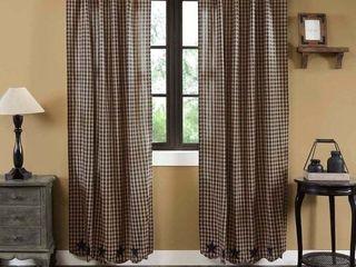 Primitive Curtains VHC Star Panel Pair Rod Pocket Cotton Star Appliqued   63 x 36    Retail   72 99