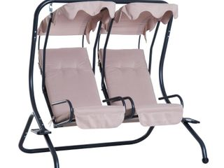 Outdoor 2 Person Steel Patio Hanging Swing Seat with Overhead Shade Protective Canopy  amp  Solid Comfortable Design   Retail 304 49