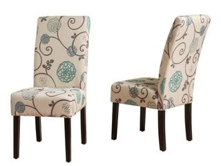 Pertica White and Blue Floral Fabric Dining Chairs  Set of 2  Retail  151 09