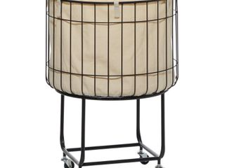 Black Metal 4 Wheeled Storage Cart With Cream Fabric lined Basket 20  X 26    19  x 19  x 26 Round   Retail 138 49