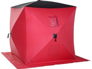 Outsunny 2 Person Pop Up Clam Ice Fishing Tent Portable Insulated Shelter   Retail   103 99