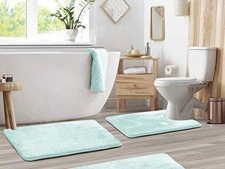 Clara Clark Memory Foam Bath Mat Ultra Soft Non Slip and Absorbent Bathroom Rug  Set of 3   Small large Contour   Aqua light Blue