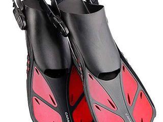 CAPAS Snorkel Fins  Swim Fins Travel Size Short Adjustable for Snorkeling Diving Adult Men Women Kids Open Heel Swimming Flippers
