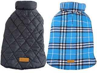 Kuoser Dog Coats Dog Jackets Waterproof Coats for Dogs Windproof Cold Weather Coats Dog Clothes Reversible British Style Plaid Dog Sweaters Pets Apparel Winter Vest for Dog Green l